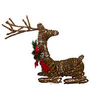 """Northlight 30"""" Lighted Rattan Reindeer with Red Bow and Pine Cones Christmas Outdoor Decoration - Brown"""