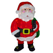 """Northlight 32"""" Lighted Chenille Santa with Gifts Outdoor Christmas Decoration"""