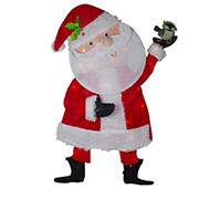 """Northlight 32"""" Lighted Chenille Santa Outdoor Christmas Decoration - Red and White"""