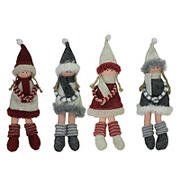 """Northlight 12"""" Girls with Scarves Christmas Doll Ornaments, 12 ct. - Red and Gray"""