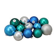 """Northlight 4"""" Turquoise 2-Finish Glass Christmas Ball Ornaments, 72 ct. - Blue and Silver"""