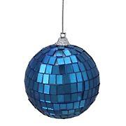 "Northlight 2.75"" Mirrored Glass Disco Ball Christmas Ornaments, 6 ct. - Lavish Blue"