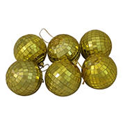 """Northlight 2.75"""" Gold Mirrored Glass Disco Ball Christmas Ornaments, 6 ct."""