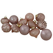 Northlight Blush Finial and Glass Ball Christmas Ornaments, 12 ct. - Pink