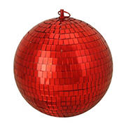 """Northlight 8"""" Shiny Hot Mirrored Disco Glass Christmas Ball Ornament - Red"""