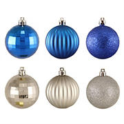 """Northlight 2.5"""" Shatterproof 3-Finish Christmas Ball Ornaments, 100 ct. - Silver and Blue"""