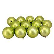 "Northlight 4"" Shatterproof Christmas Ball Ornaments, 12 ct. - Shiny Kiwi Green"