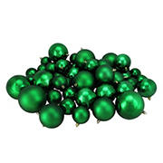 "Northlight 4"" Shatterproof 2-Finish Christmas Ball Ornaments, 50 ct. - Green"