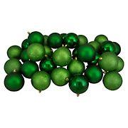 "Northlight 3.25"" Shatterproof 4-Finish Christmas Ball Ornaments, 32 ct. - Christmas Green"