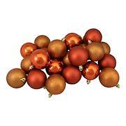 "Northlight 2.5"" Shatterproof 4-Finish Christmas Ball Ornaments, 24 ct. - Burnt Orange"