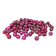 "Northlight 1.5"" Shatterproof 4-Finish Christmas Ball Ornaments, 96 ct. - Magenta Pink"