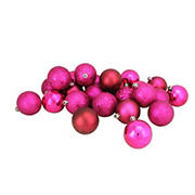 "Northlight 2.5"" Shatterproof 4-Finish Christmas Ball Ornaments, 24 ct. - Magenta Pink"