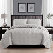 Swift Home Cozy and Soft Light Gray Diamond Stitch Quilt Bedspread Coverlet Set - Full/Queen