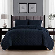 Swift Home Cozy and Soft Navy Diamond Stitch Quilt Bedspread Coverlet Set - Full/Queen