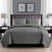Swift Home Diamond Stitch Quilt Dark Gray Bedspread Coverlet Set - Twin/Twin XL