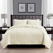 Swift Home Diamond Stitch Quilt Ivory Bedspread Coverlet Set - Full/Queen
