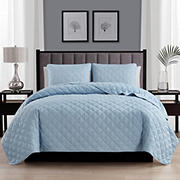 Swift Home Cozy and Soft Light Blue Diamond Stitch Quilt Bedspread Coverlet Set - Full/Queen