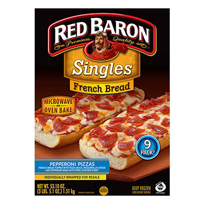 Red Baron French Bread Pepperoni Pizza, 9 ct.