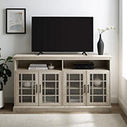 """W. Trends 58"""" Classic Glass Door TV Console for TVs Up to 65""""- White Oak"""