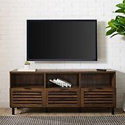"""W. Trends 58"""" Jackson Slat Door TV Stand for TVs Up to 58"""" - Dark Walnut"""