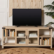 """W. Trends 60"""" Farmhouse Metal X TV Stand for TVs Up to 65"""" - White Oak"""
