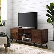"W. Trends 60"" Nora Mid Century Modern 2-Door TV Stand for TVs Up to 65"" - Dark Walnut"