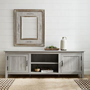 """W. Trends 70"""" Modern Farmhouse Simple Grooved Door TV Stand for TVs Up to 85""""- Stone Gray"""