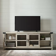 """W. Trends 70"""" Farmhouse Metal X TV Stand for TVs Up to 85"""" - White Oak"""