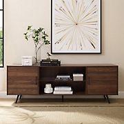"W. Trends 70"" Nora Mid Century Modern Glass Shelf 2-Door TV Stand for TVs Up to 80"" - Dark Walnut"