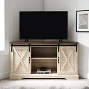"""W. Trends 52"""" Sliding Barn Door Corner TV Stand for TVs Up to 58"""" - Traditional Brown/White Oak"""
