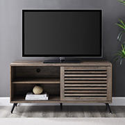 """W. Trends Modern Sliding Slat Door TV Stand for TVs up to 58"""" – Gray Wash"""