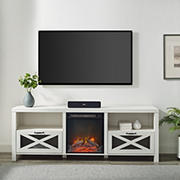 """W. Trends Farmhouse Drop Door Electric Fireplace TV Stand for TVs up to 80""""  – Brushed White"""