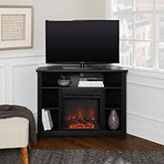 """W. Trends 44"""" Wood Corner Fireplace TV Stand  for TVs up to 50"""" - Black"""