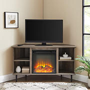 """W. Trends 48"""" Clyde Simple Corner Fireplace Console for TVs up to 50"""" - Gray Wash"""