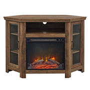 """W. Trends 48"""" Wood Corner Fireplace TV Stand  for TVs up to 55""""  - Rustic Oak"""