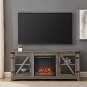 """W. Trends 58"""" Glass Barn Door Fireplace Console for TVs up to 65"""" - Gray Wash"""
