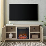 """W. Trends 58"""" Barn Door Fireplace TV stand for TVs up to 65""""  - Stone Gray"""