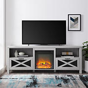 """W. Trends 70"""" Abilene Farmhouse Fireplace TV Stand for TVs up to 85"""" - Stone Gray"""
