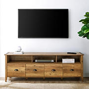 """W. Trends 70"""" Clair Industrial Farmhouse 4-Drawer TV Stand for TVs up to 80"""" - Rustic Oak"""