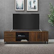 "W. Trends 70"" Draper Modern Low Profile TV Console for TVs up to 80"" - Dark Walnut"