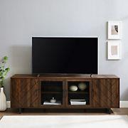 """W. Trends 70"""" Herringbone Groove 4 Door TV Stand for TVs up to 80"""" - Dark Walnut"""