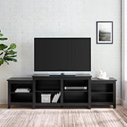 """W. Trends 80"""" Simple Tiered Top TV Stand for TVs up to 50"""" - Solid Black"""
