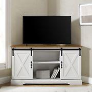 "W. Trends 52"" Sliding Barn Door Corner TV Stand for TVs up to 58"" - Rustic Oak/Solid White"