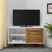 """W. Trends Modern Boho Sliding Slat Door Corner TV Stand for TVs up to 50"""" - Barnwood/Solid White"""