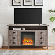"""W. Trends Farmhouse 2 Door Electric Fireplace TV Stand for TVs up to 58"""" - Gray Wash"""