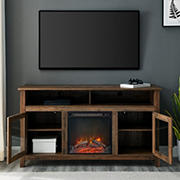 """W. Trends 58"""" Wasatch Transitional Fireplace Glass Wood TV Stand for TVs up to 65"""" - Rustic Oak"""