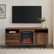 """W. Trends 60"""" Roth Modern Storage Fireplace Console for TVs up to 65"""" - Rustic Oak"""