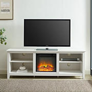 """W. Trends 70"""" Simple Fireplace TV Stand for TVs up to 85""""- Brushed White"""