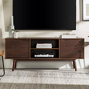 """W. Trends 58"""" Adair 2 Door Solid Wood TV Console - Walnut"""