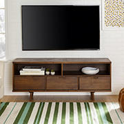 """W. Trends 58"""" Ivy 3 Drawer Mid Century Modern TV Stand for TVs up to 65"""" - Walnut"""